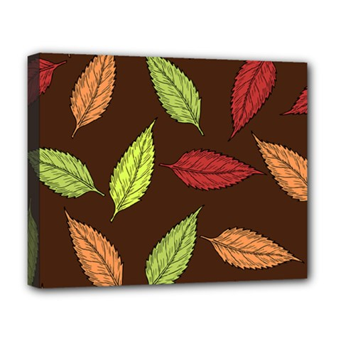 Autumn Leaves Pattern Deluxe Canvas 20  X 16