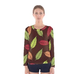 Autumn Leaves Pattern Women s Long Sleeve Tee