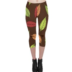 Autumn Leaves Pattern Capri Leggings