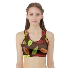 Autumn Leaves Pattern Sports Bra With Border