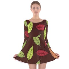 Autumn Leaves Pattern Long Sleeve Velvet Skater Dress