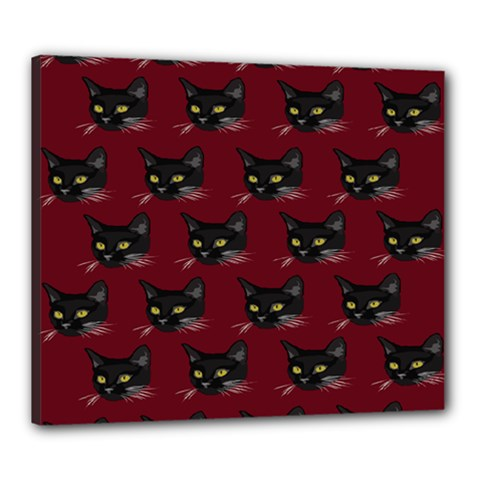 Face Cat Animals Red Canvas 24  X 20