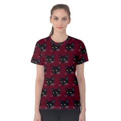 Face Cat Animals Red Women s Cotton Tee