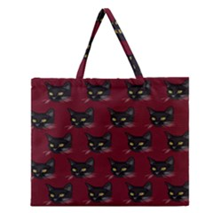 Face Cat Animals Red Zipper Large Tote Bag