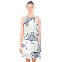 Fish Graphic Flooring Blue Seaworld Swim Water Halter Collar Waist Tie Chiffon Dress