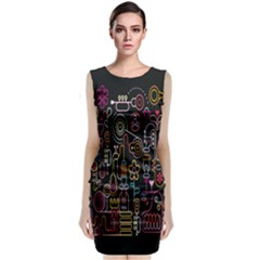 Features Illustration Classic Sleeveless Midi Dress
