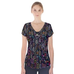 Features Illustration Short Sleeve Front Detail Top