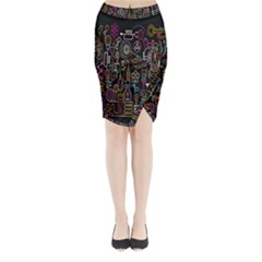 Features Illustration Midi Wrap Pencil Skirt