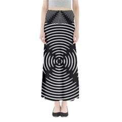 Gold Wave Seamless Pattern Black Hole Full Length Maxi Skirt