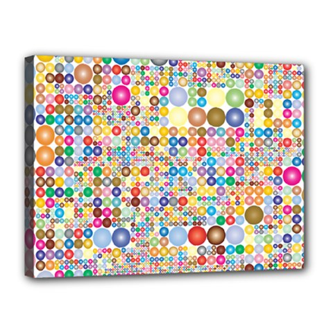 Circle Rainbow Polka Dots Canvas 16  X 12