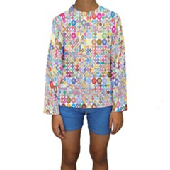 Circle Rainbow Polka Dots Kids  Long Sleeve Swimwear