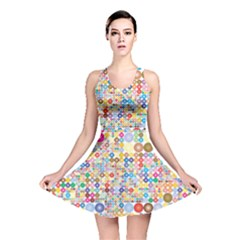 Circle Rainbow Polka Dots Reversible Skater Dress