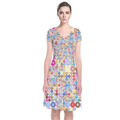 Circle Rainbow Polka Dots Short Sleeve Front Wrap Dress