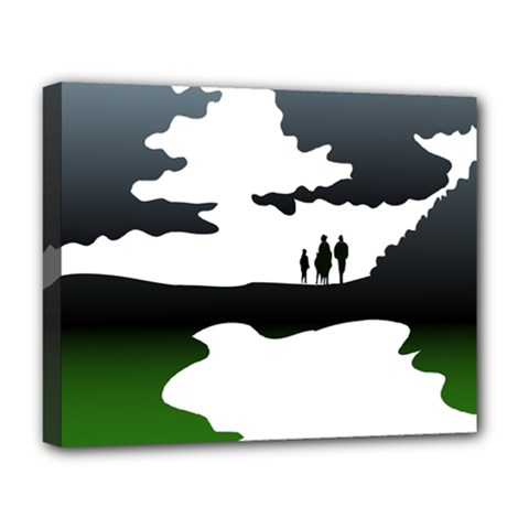 Landscape Silhouette Clipart Kid Abstract Family Natural Green White Deluxe Canvas 20  X 16
