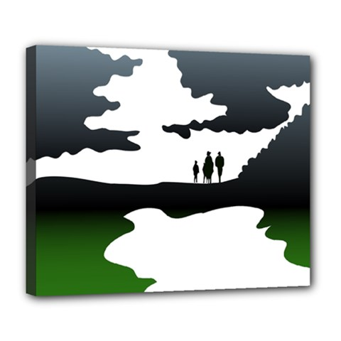 Landscape Silhouette Clipart Kid Abstract Family Natural Green White Deluxe Canvas 24  X 20