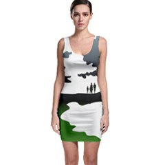 Landscape Silhouette Clipart Kid Abstract Family Natural Green White Bodycon Dress
