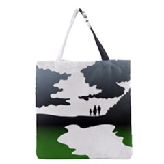 Landscape Silhouette Clipart Kid Abstract Family Natural Green White Grocery Tote Bag