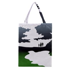 Landscape Silhouette Clipart Kid Abstract Family Natural Green White Classic Tote Bag
