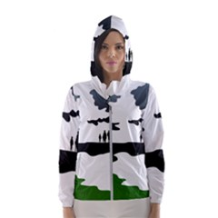 Landscape Silhouette Clipart Kid Abstract Family Natural Green White Hooded Wind Breaker (women)