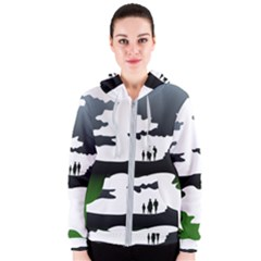 Landscape Silhouette Clipart Kid Abstract Family Natural Green White Women s Zipper Hoodie