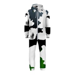 Landscape Silhouette Clipart Kid Abstract Family Natural Green White Hooded Jumpsuit (kids)