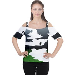 Landscape Silhouette Clipart Kid Abstract Family Natural Green White Cutout Shoulder Tee