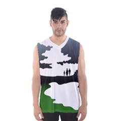 Landscape Silhouette Clipart Kid Abstract Family Natural Green White Men s Basketball Tank Top