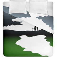Landscape Silhouette Clipart Kid Abstract Family Natural Green White Duvet Cover Double Side (king Size)
