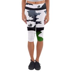 Landscape Silhouette Clipart Kid Abstract Family Natural Green White Capri Yoga Leggings