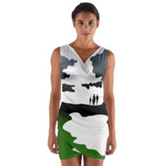 Landscape Silhouette Clipart Kid Abstract Family Natural Green White Wrap Front Bodycon Dress