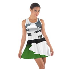 Landscape Silhouette Clipart Kid Abstract Family Natural Green White Cotton Racerback Dress
