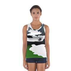 Landscape Silhouette Clipart Kid Abstract Family Natural Green White Sport Tank Top