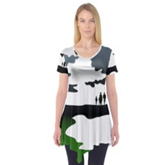 Landscape Silhouette Clipart Kid Abstract Family Natural Green White Short Sleeve Tunic
