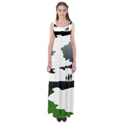 Landscape Silhouette Clipart Kid Abstract Family Natural Green White Empire Waist Maxi Dress