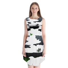 Landscape Silhouette Clipart Kid Abstract Family Natural Green White Sleeveless Chiffon Dress