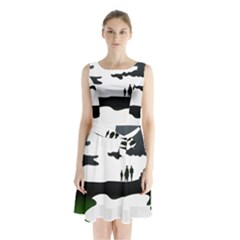 Landscape Silhouette Clipart Kid Abstract Family Natural Green White Sleeveless Waist Tie Chiffon Dress