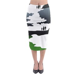 Landscape Silhouette Clipart Kid Abstract Family Natural Green White Midi Pencil Skirt