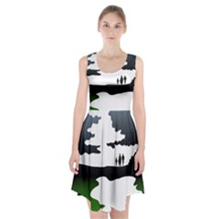 Landscape Silhouette Clipart Kid Abstract Family Natural Green White Racerback Midi Dress