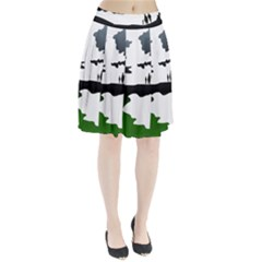 Landscape Silhouette Clipart Kid Abstract Family Natural Green White Pleated Skirt