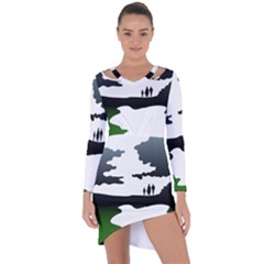 Landscape Silhouette Clipart Kid Abstract Family Natural Green White Asymmetric Cut Out Shift Dress