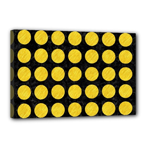 Circles1 Black Marble & Yellow Colored Pencil (r) Canvas 18  X 12