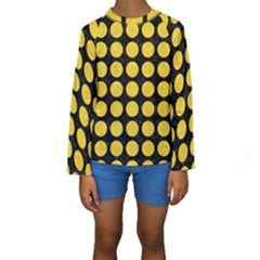 Circles1 Black Marble & Yellow Colored Pencil (r) Kids  Long Sleeve Swimwear