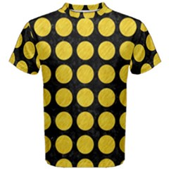 Circles1 Black Marble & Yellow Colored Pencil (r) Men s Cotton Tee