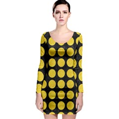 Circles1 Black Marble & Yellow Colored Pencil (r) Long Sleeve Bodycon Dress