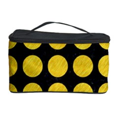 Circles1 Black Marble & Yellow Colored Pencil (r) Cosmetic Storage Case