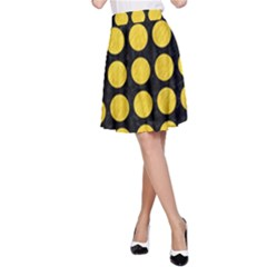 Circles1 Black Marble & Yellow Colored Pencil (r) A Line Skirt