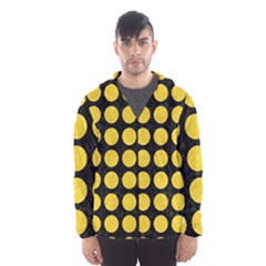 Circles1 Black Marble & Yellow Colored Pencil (r) Hooded Wind Breaker (men)