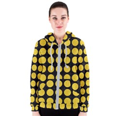 Circles1 Black Marble & Yellow Colored Pencil (r) Women s Zipper Hoodie