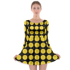 Circles1 Black Marble & Yellow Colored Pencil (r) Long Sleeve Skater Dress