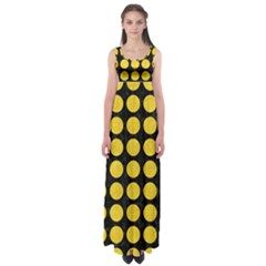 Circles1 Black Marble & Yellow Colored Pencil (r) Empire Waist Maxi Dress